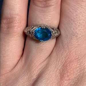 Silver Blue Oval Solitaire